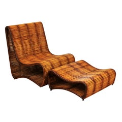 Incredible Wave Slipper Lounge Chair and Ottoman by Danny Ho Fong, circa 1970