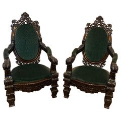 Incredibly Carved 19th Century Anglo-Indian Rosewood Palatial Chairs