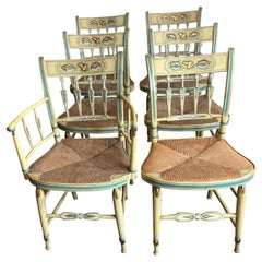 Incredibly Charming Set of 6 Hand Painted Shell Motife Hitchcock Dining Chairs