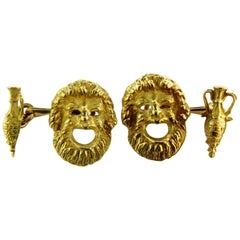 Incredibly Detailed Bacchus with Urn Double Sided 18 Karat Gold Cufflinks