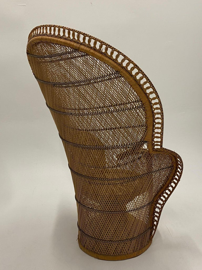 Incredibly Detailed Impressive in Scale Rattan Cobra Peacock Chair For Sale 7