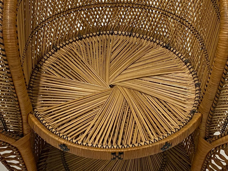 Mid-20th Century Incredibly Detailed Impressive in Scale Rattan Cobra Peacock Chair For Sale
