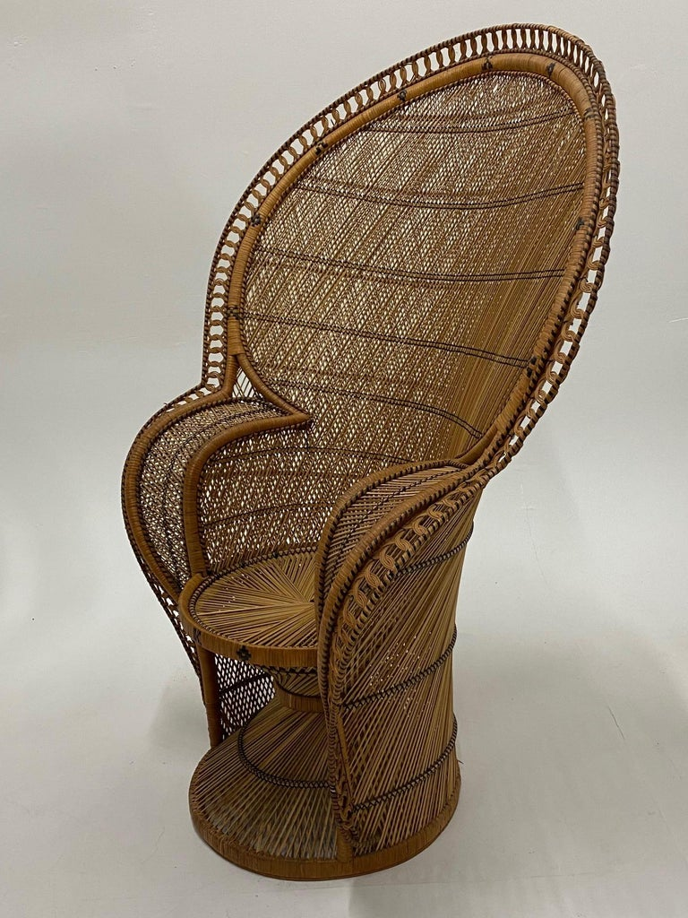 Incredibly Detailed Impressive in Scale Rattan Cobra Peacock Chair For Sale 1