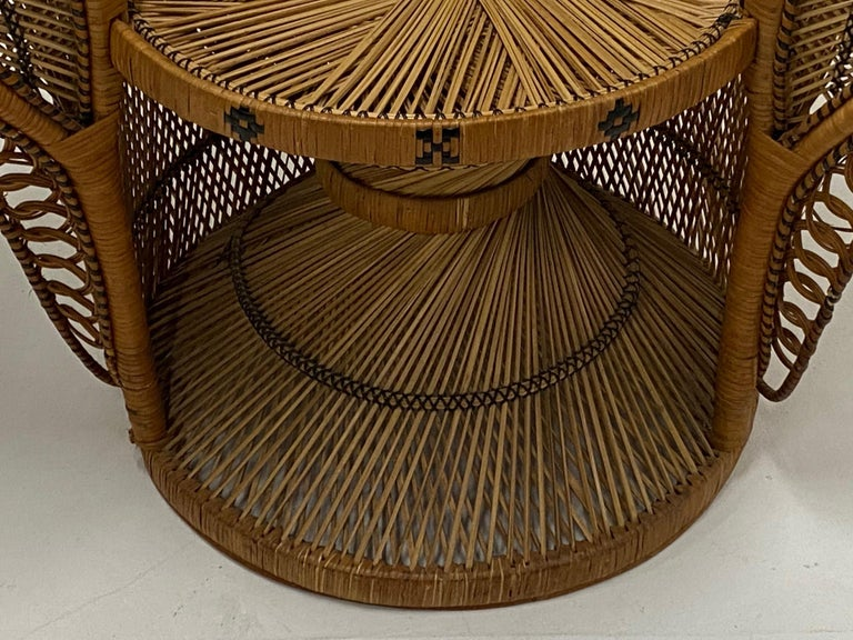 Incredibly Detailed Impressive in Scale Rattan Cobra Peacock Chair For Sale 3