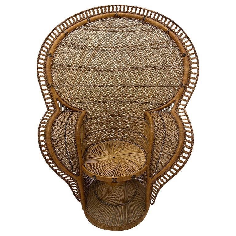 Incredibly Detailed Impressive in Scale Rattan Cobra Peacock Chair For Sale