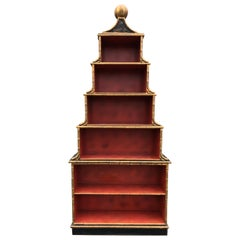 Incredibly Dramatic Tall Stickley Black & Coral Chinoiserie Bookcase