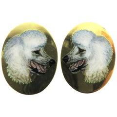 Incredibly Enameled Poodle Dogs English Hallmarked 18 Karat Cufflinks