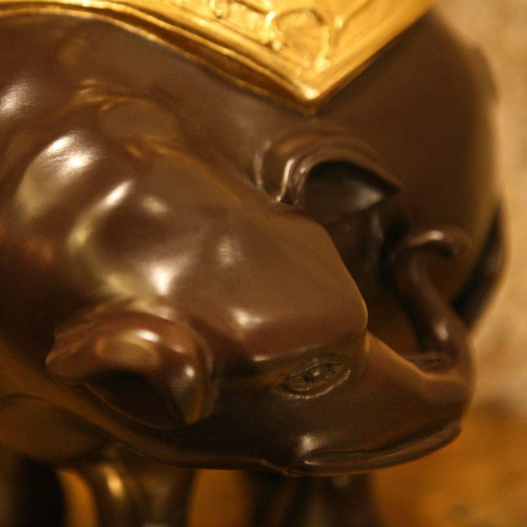 Indian Elephants Set of Two Sculptures with Gilded Bronze For Sale 4