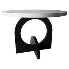 India Ink and White Beech Round Table by MSJ Furniture Studio
