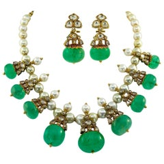 India Motif Emerald Pearl Diamond Reversible Suite