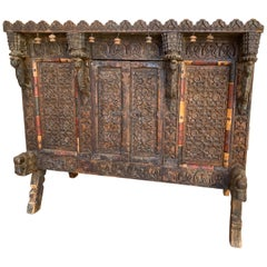India Rajasthan or Gujarat Dowry Blanket Chest Horse and Bird Finials