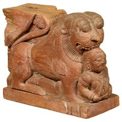Indian 18th Century Teak Guardian Lion Carving with Traces of Original Paint