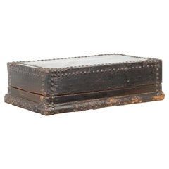 Indian 19th Century Black Box with Iron Nailheads, Braces and Rustic Patina