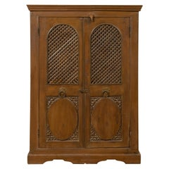 Indian 19th Century Cabinet with Metal Fretwork Motifs and Oval Medallions