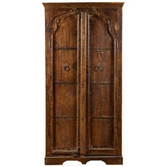 Indian 19th Century Carved Sheesham Wood Cabinet with Iron Hardware from Gujarat