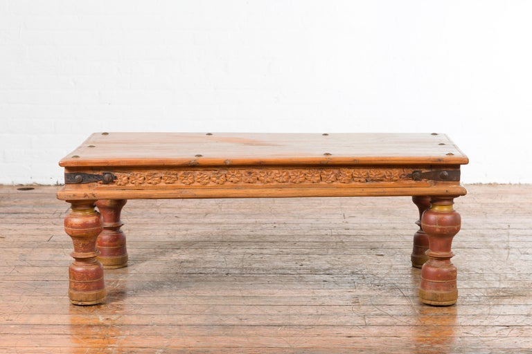 Indian 19th Century Coffee Table with Carved Floral Frieze and Baluster Legs For Sale 9