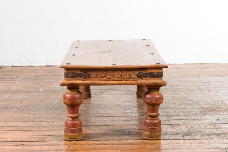 Indian 19th Century Coffee Table with Carved Floral Frieze and Baluster Legs For Sale 10