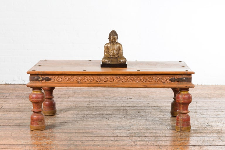 Iron Indian 19th Century Coffee Table with Carved Floral Frieze and Baluster Legs For Sale