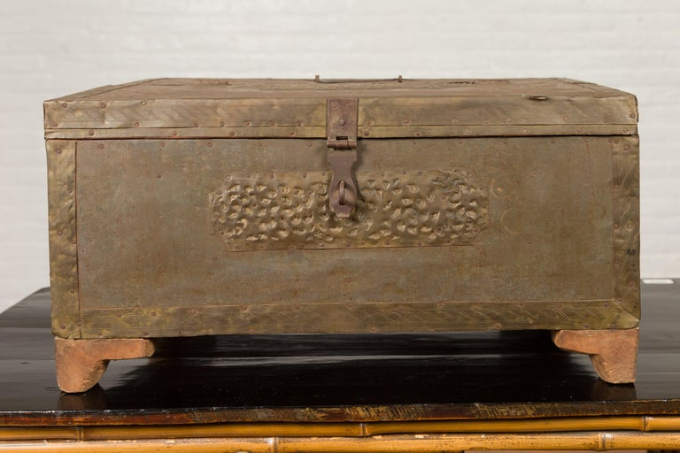 Indian 19th Century Merchant's Chest with Pierced Geometric Decor and Patina In Good Condition For Sale In Yonkers, NY