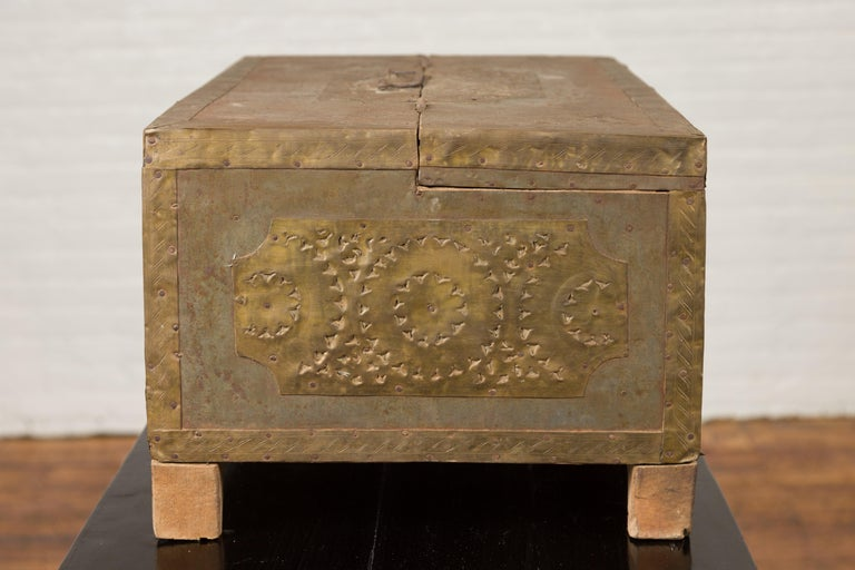 Wood Indian 19th Century Merchant's Chest with Pierced Geometric Decor and Patina For Sale
