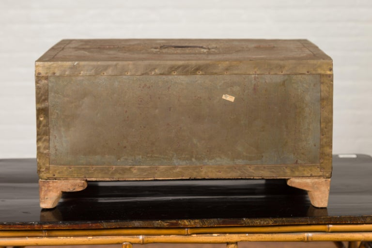 Indian 19th Century Merchant's Chest with Pierced Geometric Decor and Patina For Sale 1