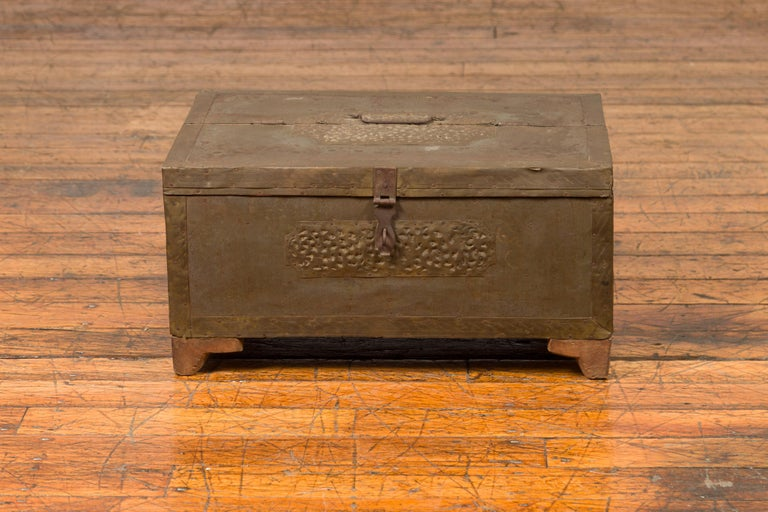 Indian 19th Century Merchant's Chest with Pierced Geometric Decor and Patina For Sale 3