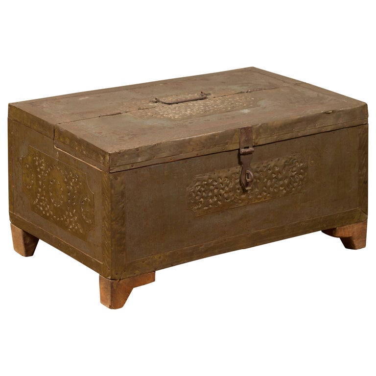 Indian 19th Century Merchant's Chest with Pierced Geometric Decor and Patina For Sale
