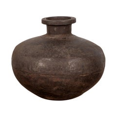 Indian 19th Century Metal Water Jar with Generous Belly and Protruding Lip