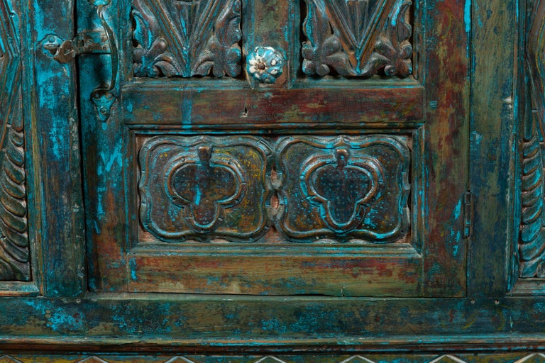 Indian 19th Century Royal Teal Painted Cabinet with Carved Doors and Two Drawers For Sale 6