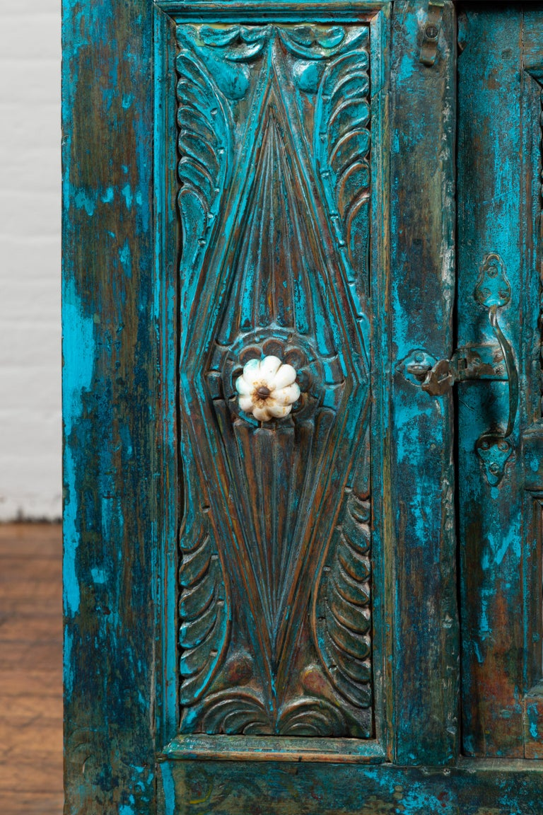 Indian 19th Century Royal Teal Painted Cabinet with Carved Doors and Two Drawers For Sale 7