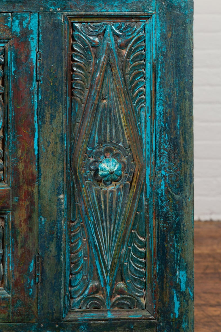 Indian 19th Century Royal Teal Painted Cabinet with Carved Doors and Two Drawers For Sale 8