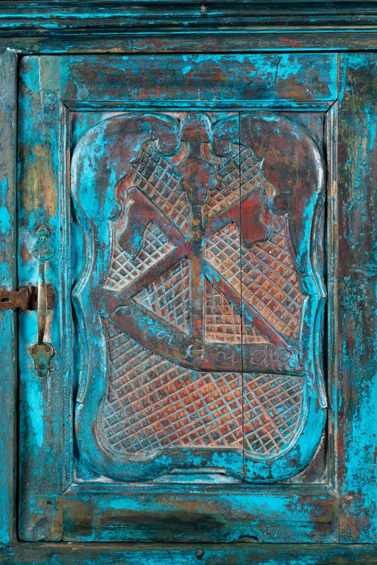 Indian 19th Century Royal Teal Painted Cabinet with Carved Doors and Two Drawers For Sale 9
