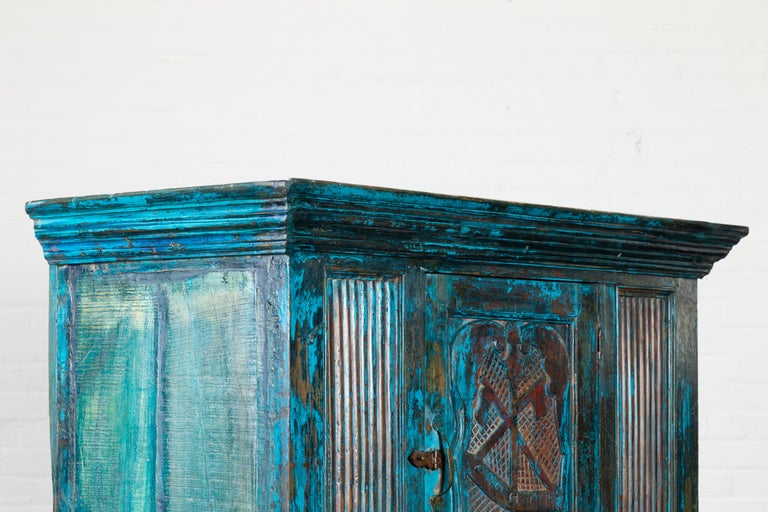 Indian 19th Century Royal Teal Painted Cabinet with Carved Doors and Two Drawers For Sale 10