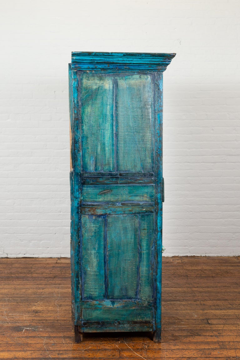 Indian 19th Century Royal Teal Painted Cabinet with Carved Doors and Two Drawers For Sale 11