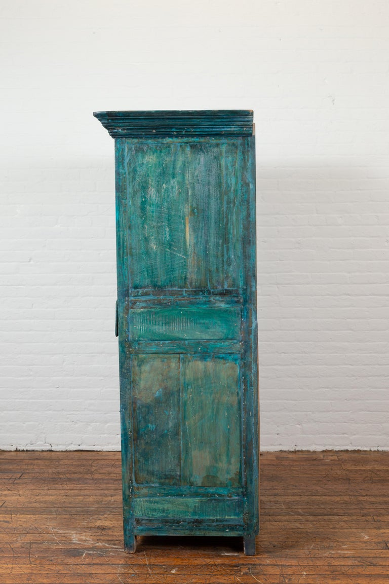 Indian 19th Century Royal Teal Painted Cabinet with Carved Doors and Two Drawers For Sale 13