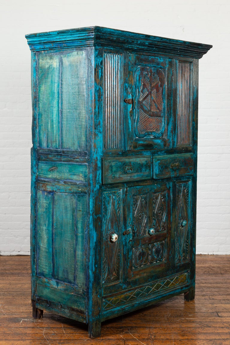 Indian 19th Century Royal Teal Painted Cabinet with Carved Doors and Two Drawers In Good Condition For Sale In Yonkers, NY