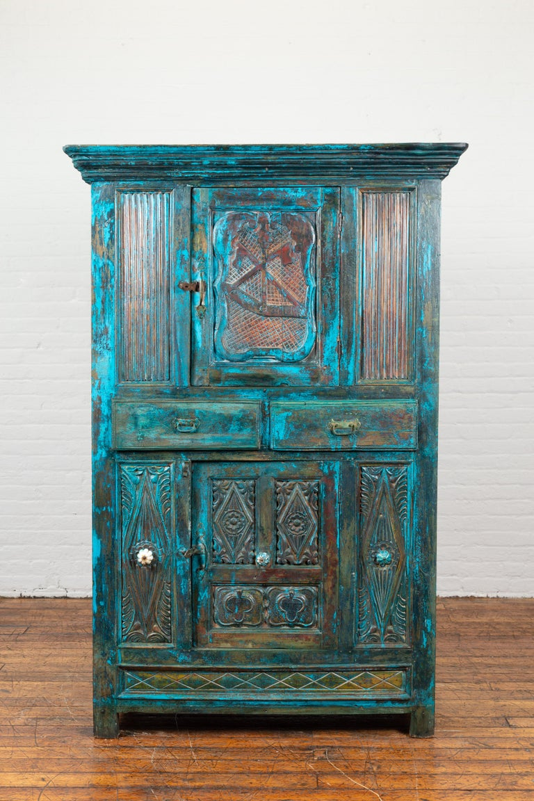 Wood Indian 19th Century Royal Teal Painted Cabinet with Carved Doors and Two Drawers For Sale