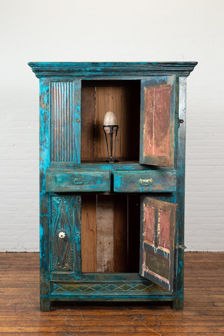 Indian 19th Century Royal Teal Painted Cabinet with Carved Doors and Two Drawers For Sale 1