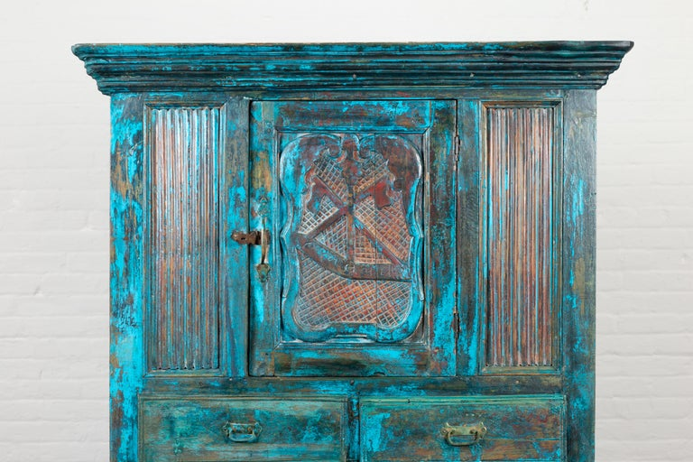 Indian 19th Century Royal Teal Painted Cabinet with Carved Doors and Two Drawers For Sale 2