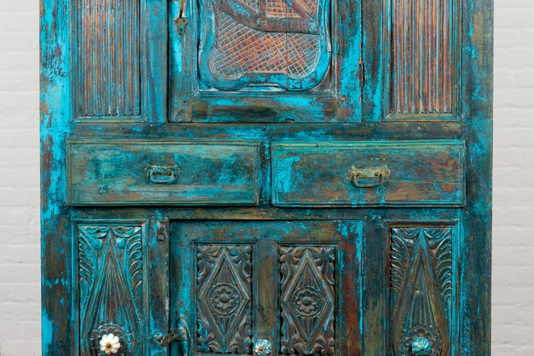 Indian 19th Century Royal Teal Painted Cabinet with Carved Doors and Two Drawers For Sale 3