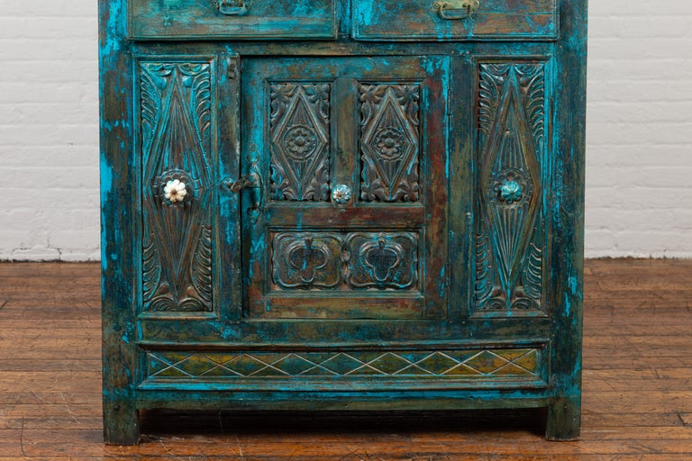 Indian 19th Century Royal Teal Painted Cabinet with Carved Doors and Two Drawers For Sale 4