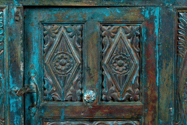 Indian 19th Century Royal Teal Painted Cabinet with Carved Doors and Two Drawers For Sale 5