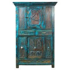 Indian 19th Century Royal Teal Painted Cabinet with Carved Doors and Two Drawers