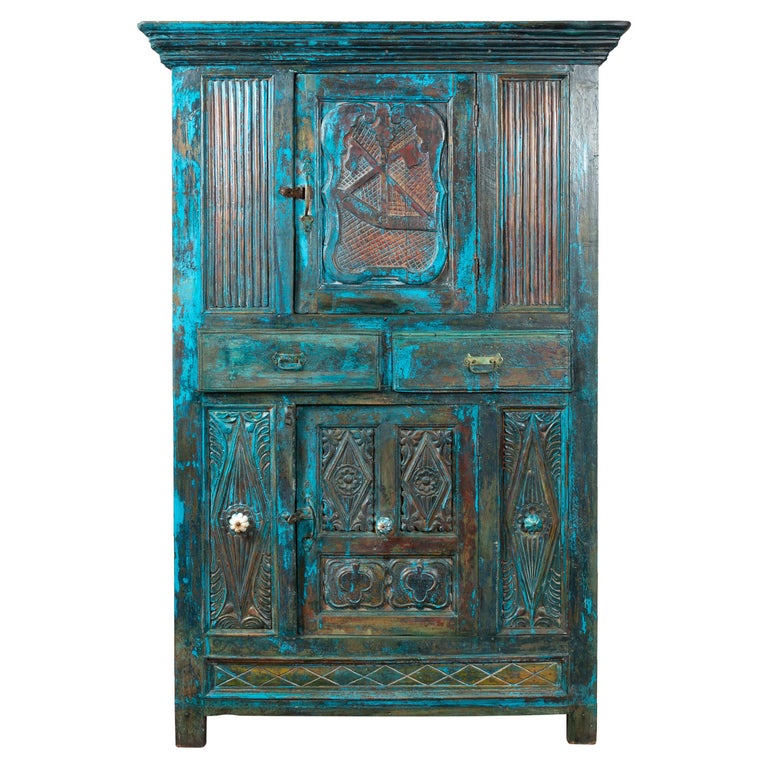 Indian 19th Century Royal Teal Painted Cabinet with Carved Doors and Two Drawers For Sale