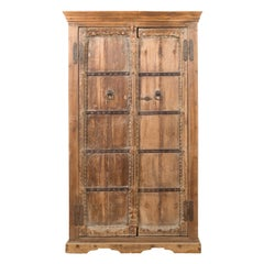 Indian 19th Century Sheesham Gujarat Cabinet with Carved Doors and Iron Accents