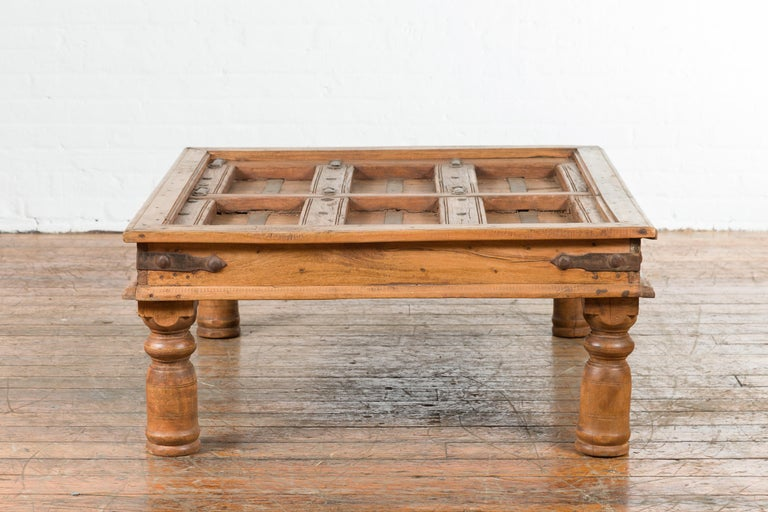 Indian 19th Century Sheesham Wood Courtyard Door Redesigned as a Coffee Table For Sale 6