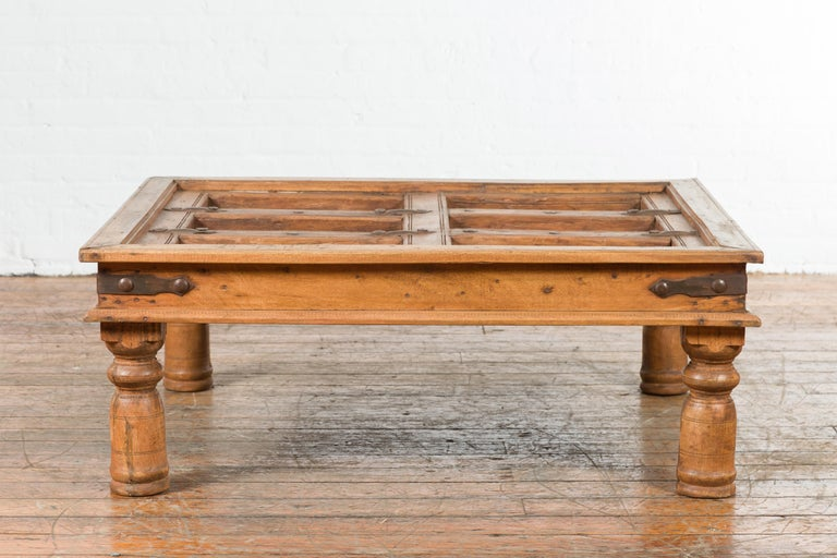 Indian 19th Century Sheesham Wood Courtyard Door Redesigned as a Coffee Table For Sale 7