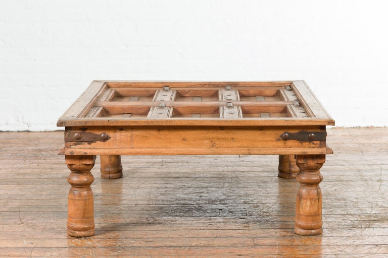 Indian 19th Century Sheesham Wood Courtyard Door Redesigned as a Coffee Table For Sale 8
