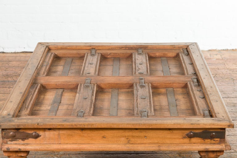 Indian 19th Century Sheesham Wood Courtyard Door Redesigned as a Coffee Table For Sale 9