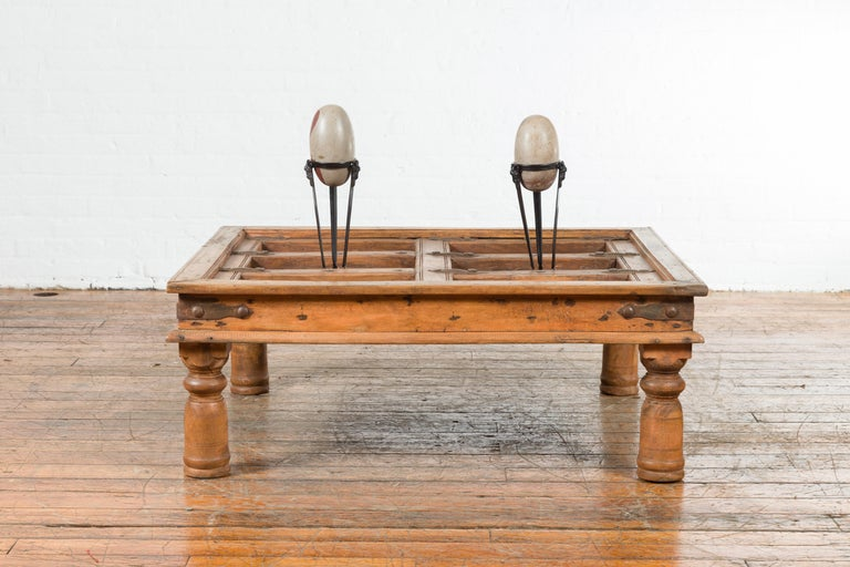 Rustic Indian 19th Century Sheesham Wood Courtyard Door Redesigned as a Coffee Table For Sale